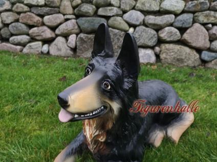 Deutscher Schäferhund liegend Figur Statue Skulptur Fan Gartenfigur Garten Deko - Vorschau 2