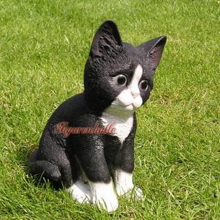 Katze schwarz sitzend Kringeln gestromt Figur Statue Skulptur Fan Deko.