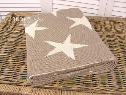 Kuscheldecke Star Sterne Wolldecke grau Wendedecke Landhausstil - Vorschau 2