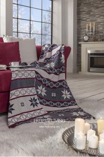 Winter Motiv Kuscheldecker Strickdecke schneeflocke nlau weiß Home Interiors