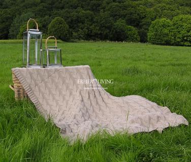 Zopf Kuscheldecke Wolldecke beige Zopfmuster Landhausstil
