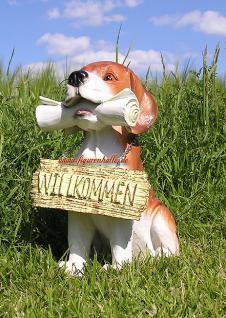 Beagle Tierfigur Hund mit Zeitung Figur Haustür
