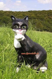 Katze in schwarz weiß als Garten- und Dekofigur