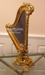 Harfe als Standspiegel Spiegek Art Deco Stil Barock gold farbend