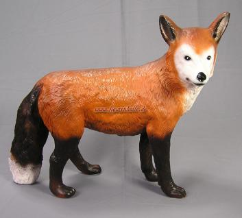 Fuchs Figur stehend als Statue Ländliche Dekofigur Skulptur