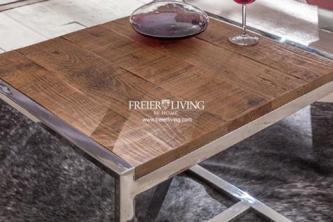 Designer Beistelltisch aus Chrom mit Altem Antik Holz Modern Deko - Vorschau 2