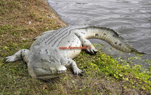Krokodil Kroko Aligator Figur Dekofigur Garten