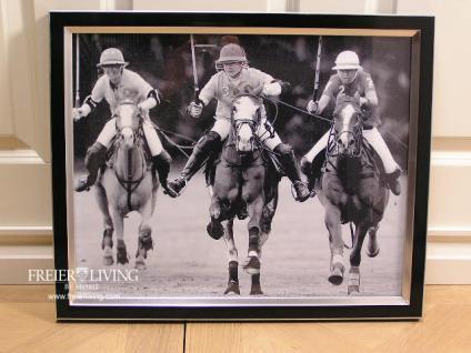 Polospieler Foto in Rahmen als Dekoration Wandbild schwarz weiß