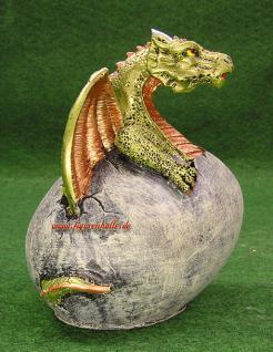 Drache in Ei Drachen Figur Statue Skulptur Deko
