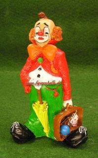 Clown Figur mit Regenschirm und Koffer Zierkus Deko