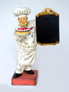 Bäcker Figur als Werbeaufsteller mit Menütafel