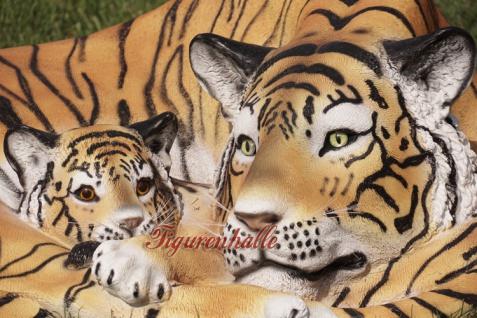 Tiger liegender Position Dekofigur Lebensgroß Tiga Aufstellfigur - Vorschau 3