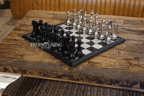 Aluminium Schachspiel edel Metall Luxus Deko Home Interiors Rivera