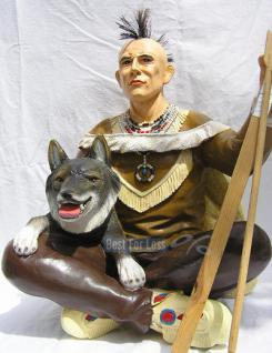 Indianer Figur Western Skulptur Wolf Dekofigur