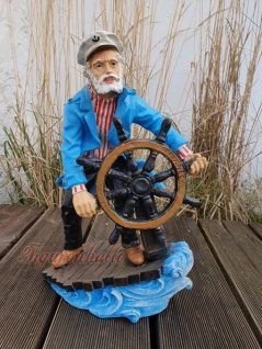 Maritime Figur Dekofigur Seemann mit Steuerrad Statue Skulptur Deko