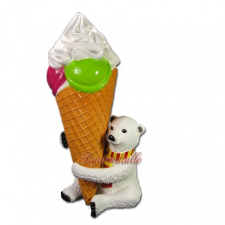 Eisbär Kugel Eistüte Figur Werbefigur Werbeaufsteller Eisdiele
