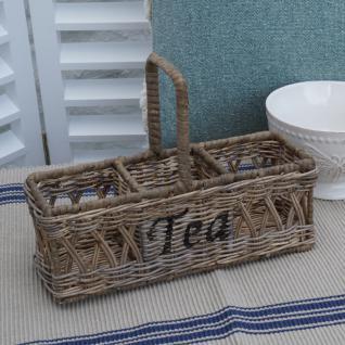 Rattan Teekorb Teefach Teedose Teekasten Tee Korb Rattan