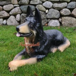 Deutscher Schäferhund liegend Figur Statue Skulptur Fan Gartenfigur Garten Deko