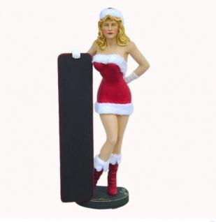 Weihnachtsfrau mit Schild Werbefigur Weihnachstdeko