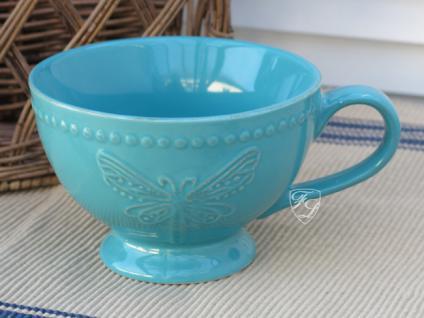 Milchkaffee Tasse Becher türkies Kaffee Tee