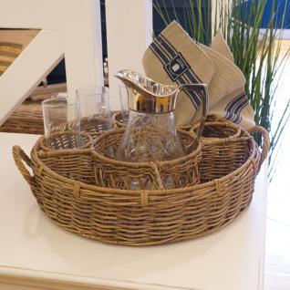 Rattan Flaschentablett Tablett Gläser Flaschen Rattan Landhaus