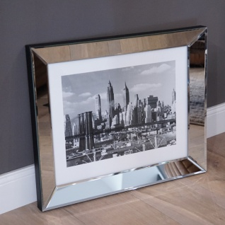 Wandbild Brooklyn Bridge Skyline New York Spiegelrahmen Foto Deko Fan USA Bild