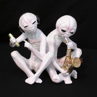 Alien Außerirdischer Musiker Statuen Fan Deko Figur UFO