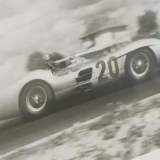Rahmen weiß Wandbild Fotodruck Mercedes Benz Schwarz weiß 1955 Oldtimer Racing - Vorschau 2