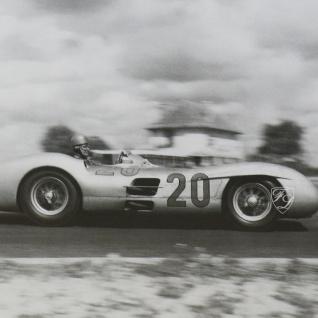 Wandbild Fotodruck Mercedes Benz Schwarz weiß 1955 Oldtimer Racing - Vorschau 4