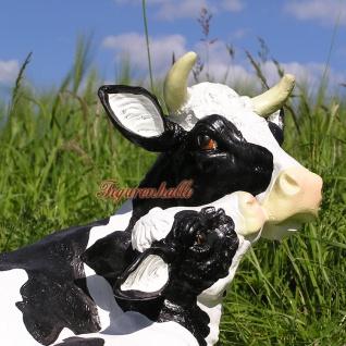 Kuh mit Kalb als Figur Statue schwarz gefleckt Garten Deko - Vorschau 2