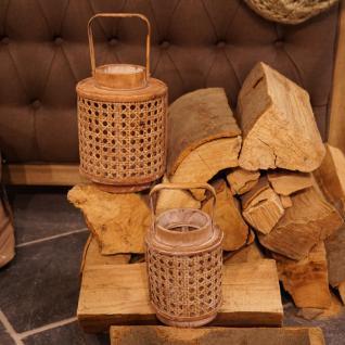Bambus Laterne Bambusholz Windlicht Wiener Geflecht Deko Dekoration