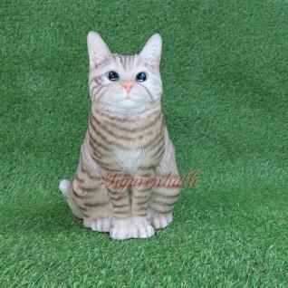 American Shorthair Charakter Katze Figur Statue Skulptur Deko hellgrau Gartenfigur