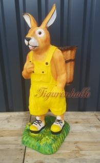 Osterhase Ostern gelbe Hose Deko-Figur Gartenfigur Statue