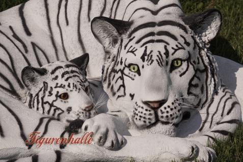 Tiger liegender Position weißer Dekofigur Lebensgroß Tiga Aufstellfigur - Vorschau 3