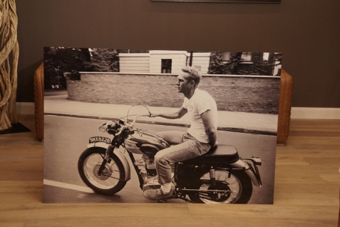 Wandbild Steve McQueen Motorrad BMW Triumph Alu Dibond