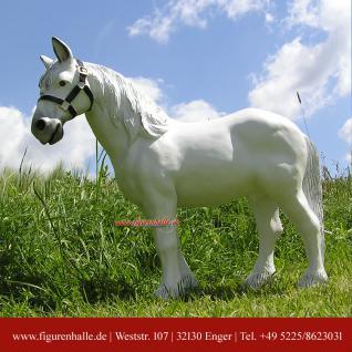 Weißes Pferd Figur Statue Gartenfigur Dekofigur für Hof und Garten