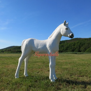 Fohlen Dekofigur Pferde Statue Pferd Figur weiß lebensecht