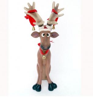 Lustiges Elch Rentier sitzend Statue Außenbereich Figur Dekoration Weihnachts Deko