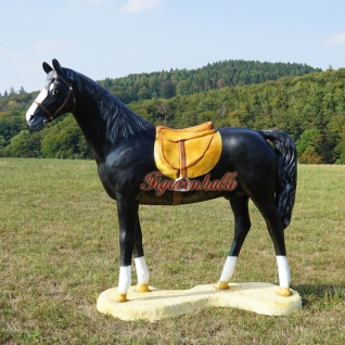 Pferd Lebensgroß mit Sattel schwarz Dekofigur Figur Deko