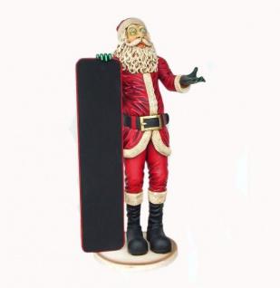 Weihnachtsmann mit Menütafel als Figur Werbefigur