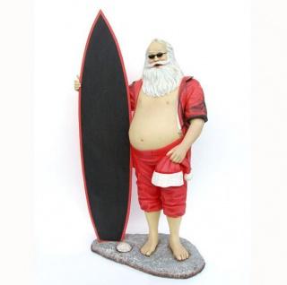 Weihnachtsmann klein Surfboard Maritim Strand Beach Dekoration Figur Deko