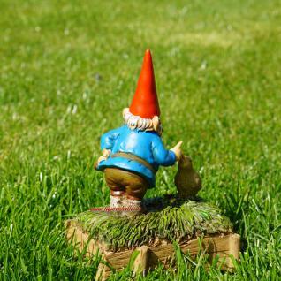 Gartenzwerg mit quakender Ente als Deko für Haus und Garten - Vorschau 5