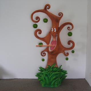 Lachender Baum als Werbefigur für den Handel