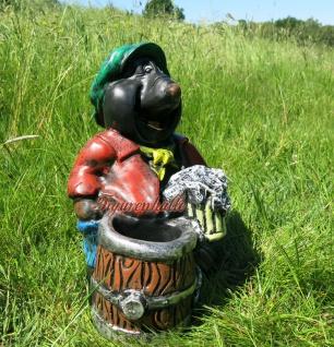 Maulwurf Gartenfigur Gartenzwerg Garten Lustig Figur Deko Bier Biertrinken Fass