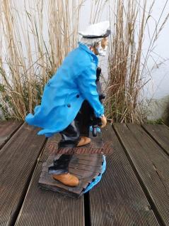 Maritime Figur Dekofigur Seemann mit Steuerrad Statue Skulptur Deko - Vorschau 2