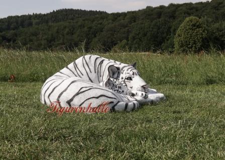 Tiger liegender Position weißer Dekofigur Lebensgroß Tiga Aufstellfigur - Vorschau 4