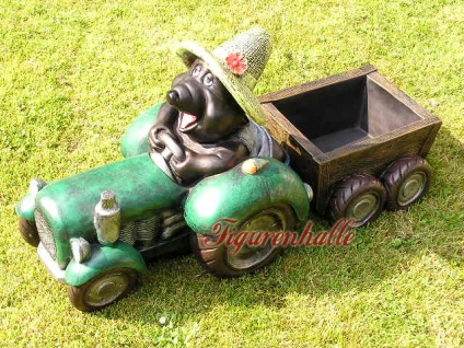 Maulwurf Traktor Trecker Figur Anhänger Garten witzig Puzig Haustür Vorgarten