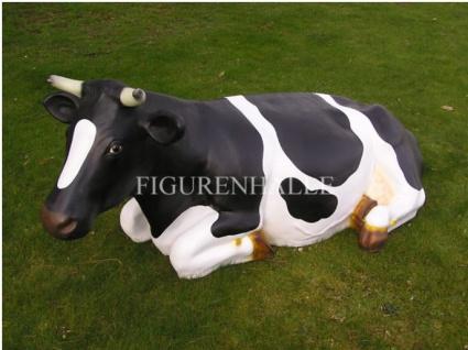 Kuh lebensgroß Figur schwarz bunt Deko Werbefigur witzig Garten