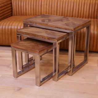 3er Tisch Set Wohnzimmertisch Beistelltisch Holz Shabby Chic Vintage Home Interiors