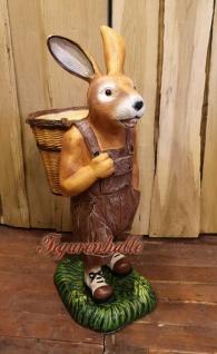 Osterhase brauner Hose Ostern Deko-Figur Gartenfigur Statue
